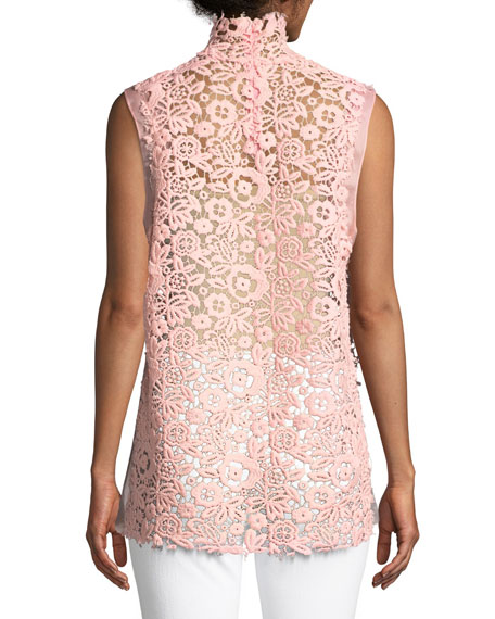 Mock-Neck Sleeveless Floral Lace Guipure Dress