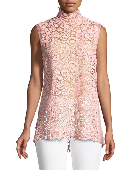 9d24cfa2c Miu Miu Mock-Neck Sleeveless Floral Lace Guipure Dress