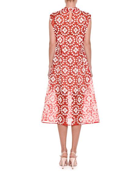Sleeveless Applied Lace Dress