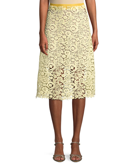 Floral Lace-Guipure Midi Skirt