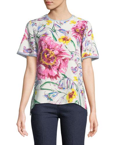 Crewneck Flounce-Sleeve Floral-Print Cady Top