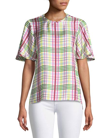 Short-Sleeve Plaid Silk Top