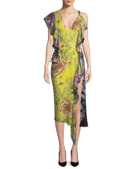 Asymmetric Cold-Shoulder Silk Midi Dress
