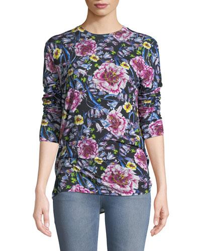 Floral-Print Jersey Long-Sleeve Tee