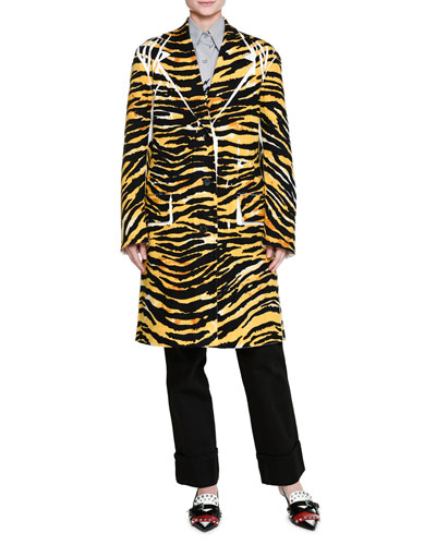 Tiger-Print Button-Front Wool Coat