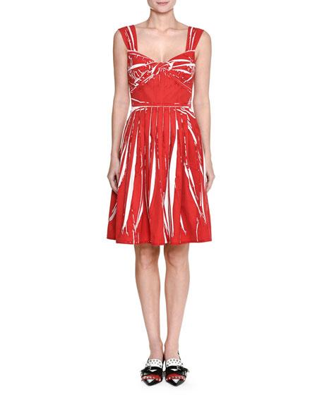 Sleeveless Twist-Front Cotton Dress