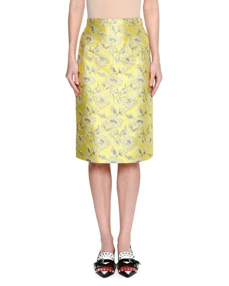 Lamé Brocade Midi Skirt