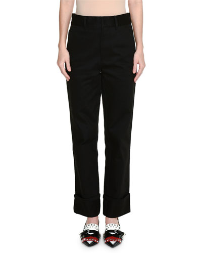 Straight-Leg Cuff-Ankle Wool Pants