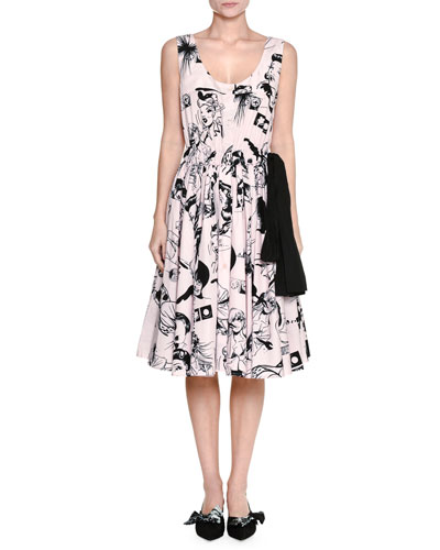 Sleeveless Cartoon-Print Scoop-Neck Dress