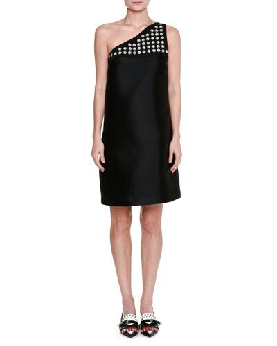 Studded One-Shoulder Dress