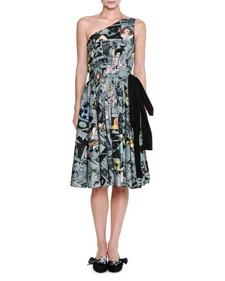 One-Shoulder Comic-Print Dress