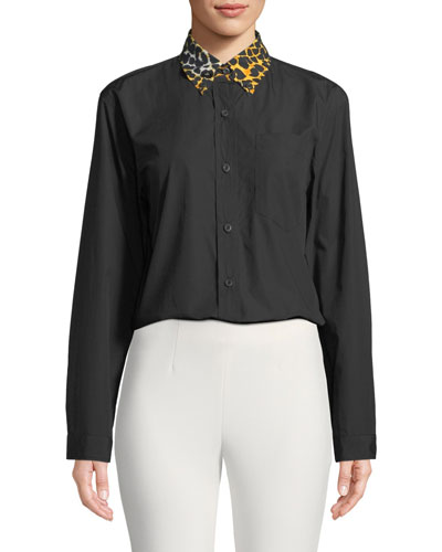 Leopard-Print Collar Button-Down Cotton Shirt