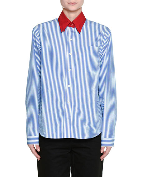 Button-Front Striped Wool Shirt with Contrast Collar