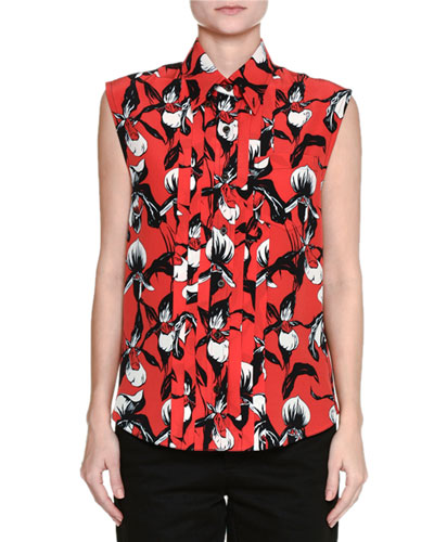 Front-Pleated Sleeveless Orchid-Print Wool Top
