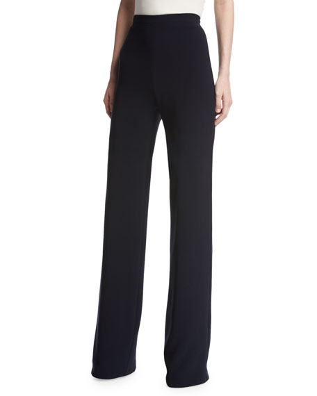 Brandon Maxwell High-Waist Crepe Wide-Leg Trousers