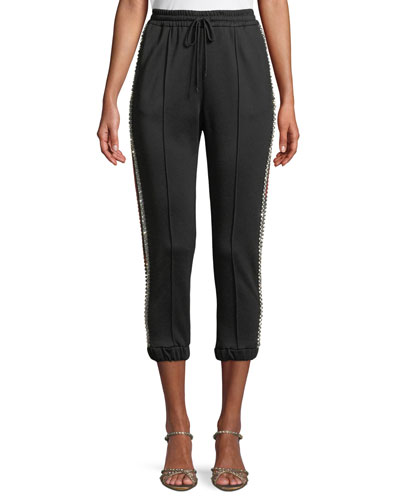 Jogging Cropped Pants with Crystal Side Trim