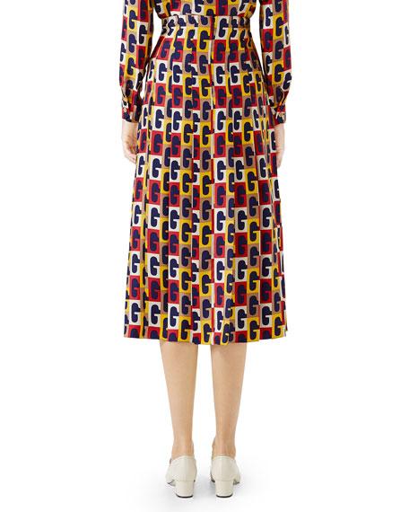 G-Sequence Pleated Silk Mid-Length Skirt