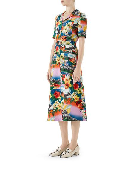 Short-Sleeve Exotic Hawaiian-Print Dress