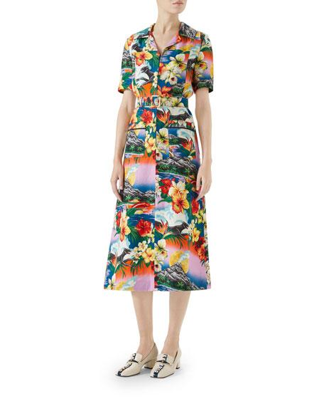Short-Sleeve Exotic Hawaiian-Print Dress, Linen