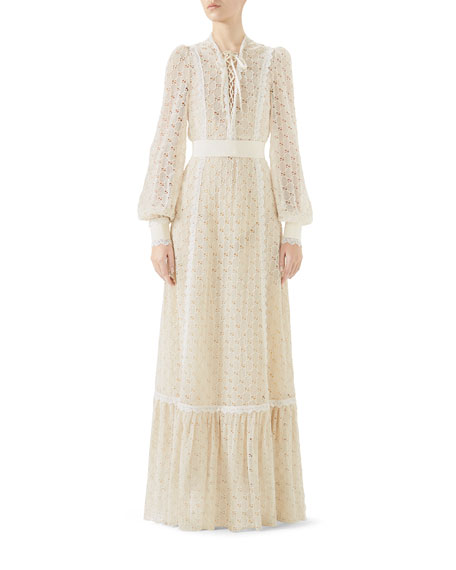 Lace-Up Long-Sleeve MacramÉ Long Dress, White