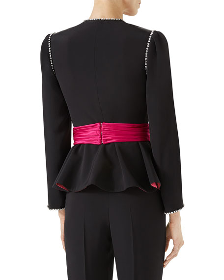 Marocain Evening Jacket with Bow Detail and Crystal Trim