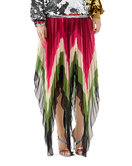Pleated Asymmetric Colorblock Silk Skirt