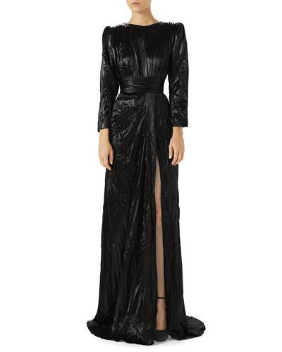 Long-Sleeve Drape Satin Duchess Evening Gown