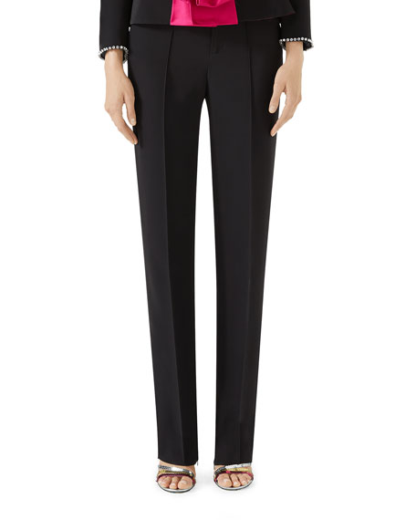 Slim Straight-Leg Pintuck Pants