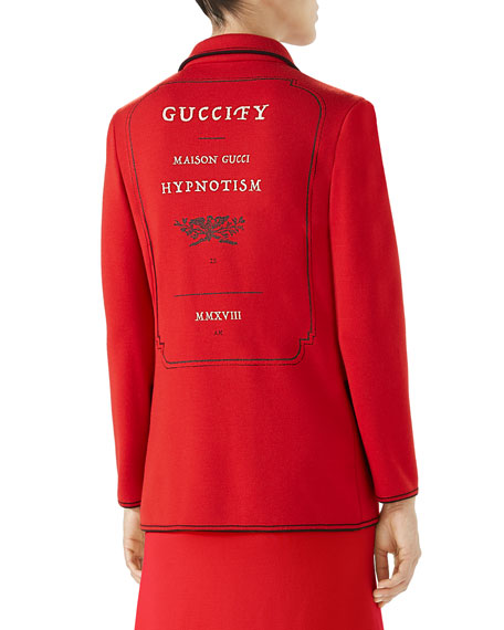 Long-Sleeve Polo-Neck Fine Wool Cardigan with Guciffy Stamp