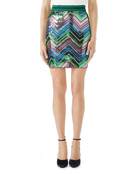 Chevron Sequin Knit Mini Skirt