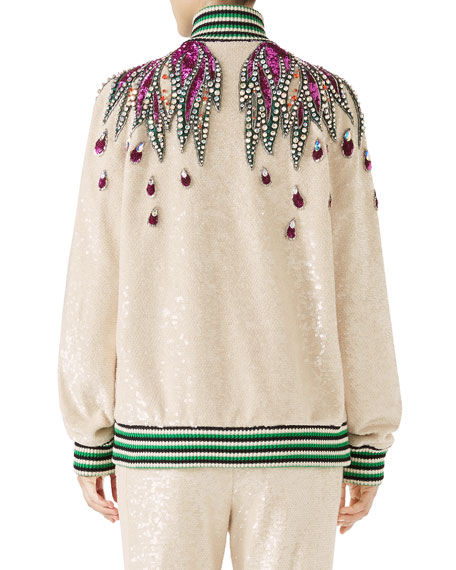 Long-Sleeve Sequin Embroidered Bomber Jacket w/ Jewel Trim