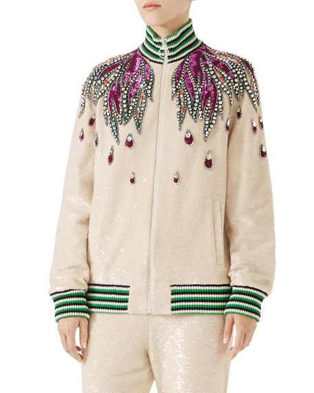 Long-Sleeve Sequin Embroidered Bomber Jacket W/ Jewel Trim, Ivory