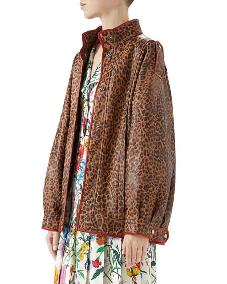 Leopard-Print Leather Jacket w/ Spiritismo on Back