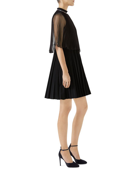 Jersey Cocktail Dress w/ Organza Plisse Capelet