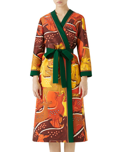 Fawn-Print Belted Cady Kimono