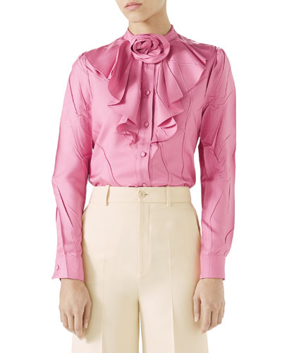 Silk Twill Button-Front Ruffle Shirt with Rose Detail