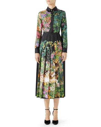 Long-Sleeve Floral-Print Silk Twill Midi Dress w/ Pleated Skirt