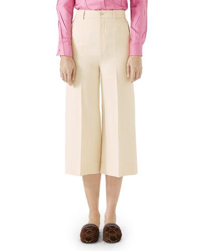 Cady Crepe Wool-Silk Gaucho Pants