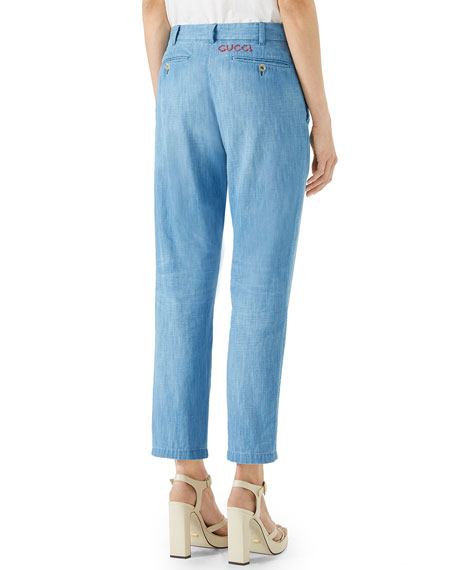 New Chino Straight-Leg Washed Denim Pants