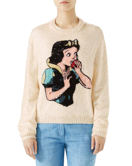 + Disney Crystal-Embellished Appliquéd Sequined Wool Sweater in White