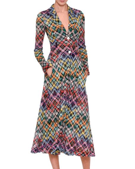 Rainbow Check Knit Coat Dress