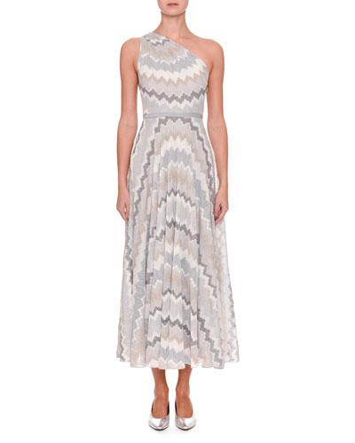 One-Shoulder Zigzag Maxi Dress
