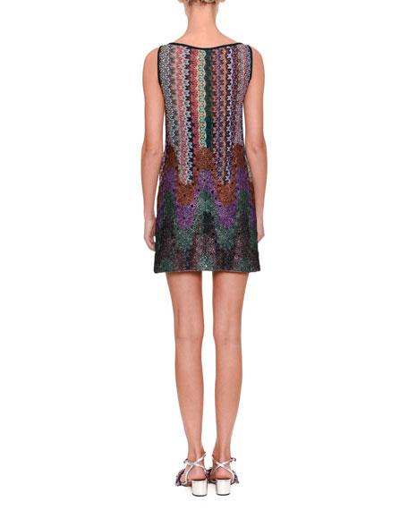 Sleeveless Mixed Knit Shift Dress
