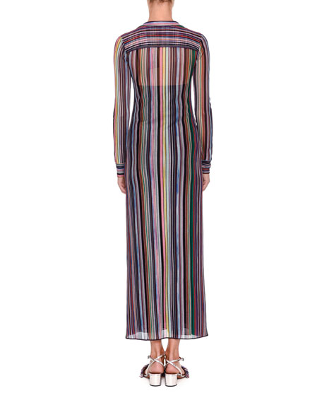 Long-Sleeve Striped Shirtdress