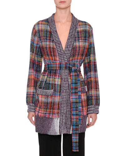 Plaid Tie-Waist Cardigan