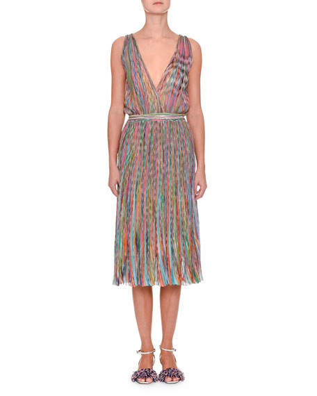 Sleeveless V-Neck Midi Dress
