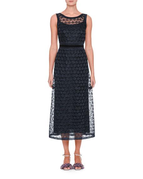Sleeveless V-Back Midi Gown