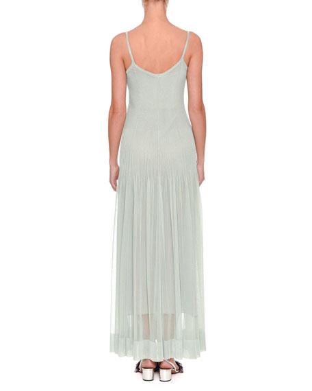 Sleeveless Plisse V-Neck Gown