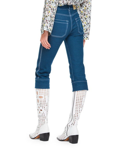 Cropped Denim Straight-Leg Pants