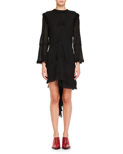 Asymmetric Sheer Crepe Dress